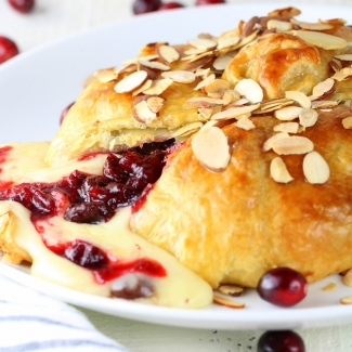 Baked Brie in Puff Pastry with Cherry Cranberry Sauce