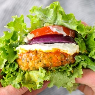 Buffalo Chicken Burgers with Blue Cheese Sauce