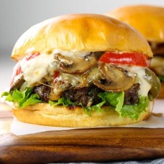 Philly Cheesesteak Burger with Garlic Parmesan Aioli
