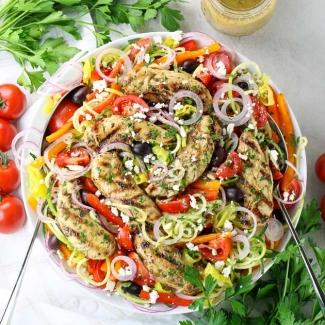 Greek Chicken Salad with Zucchini Noodles