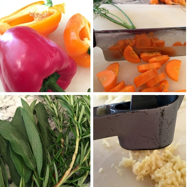 4 images of soup ingredients being prepped