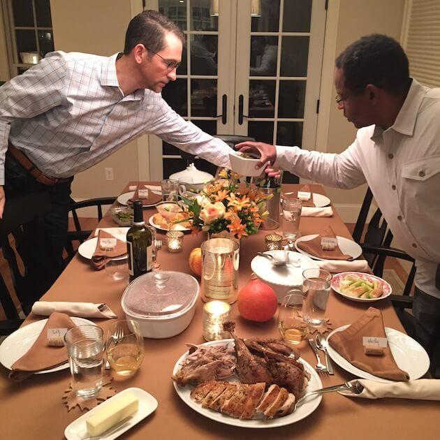 B & Hermie setting table