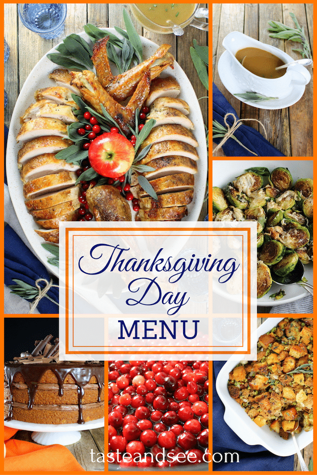 Thanksgiving menu w/everything you need to host a perfect Thanksgiving dinner!  Turkey, Cranberries, Stuffing, Brussels Sprouts, & more!