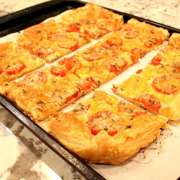 Tomato Cheddar Tart Cut Up