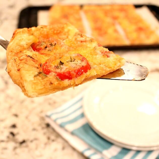 Tomato Tart slice on spatula