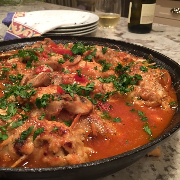 Chicken Canneloni Finished In Pan