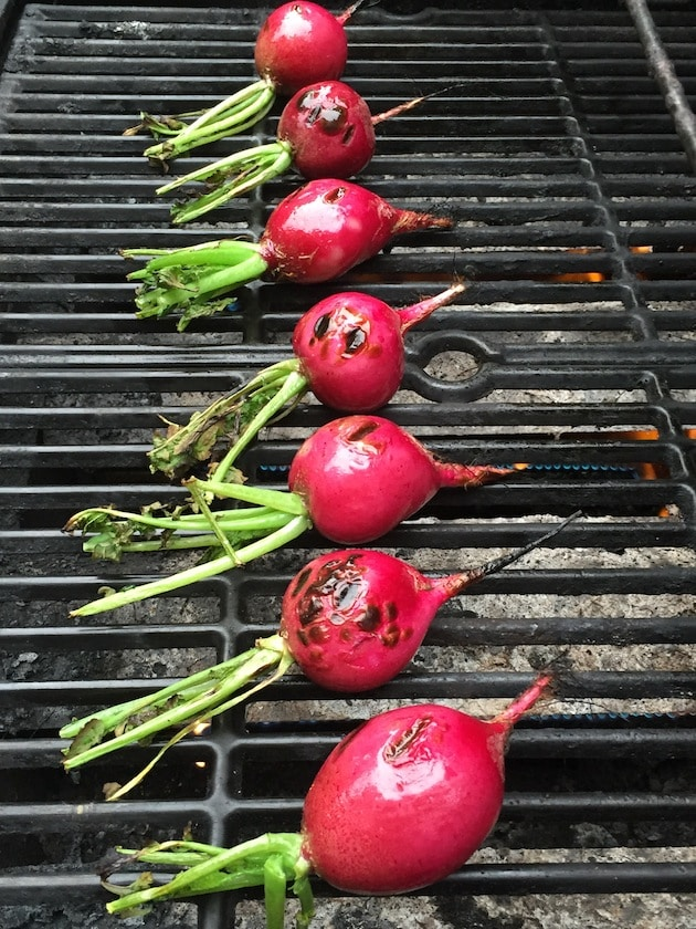 Charred Farm Radishes with Greek Yogurt Crema