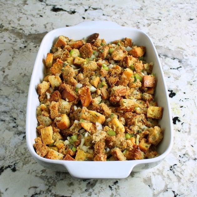 Turkey Stuffing casserole dish ready to bake