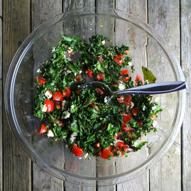 Organic Kale Salad With Tomatoes And French Feta