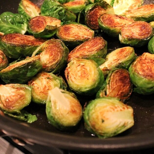 Balsamic Glazed Brussels Sprouts browned