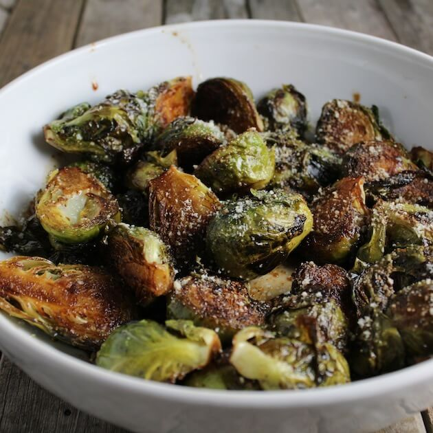 Balsamic Glazed Brussels Sprouts finished on table