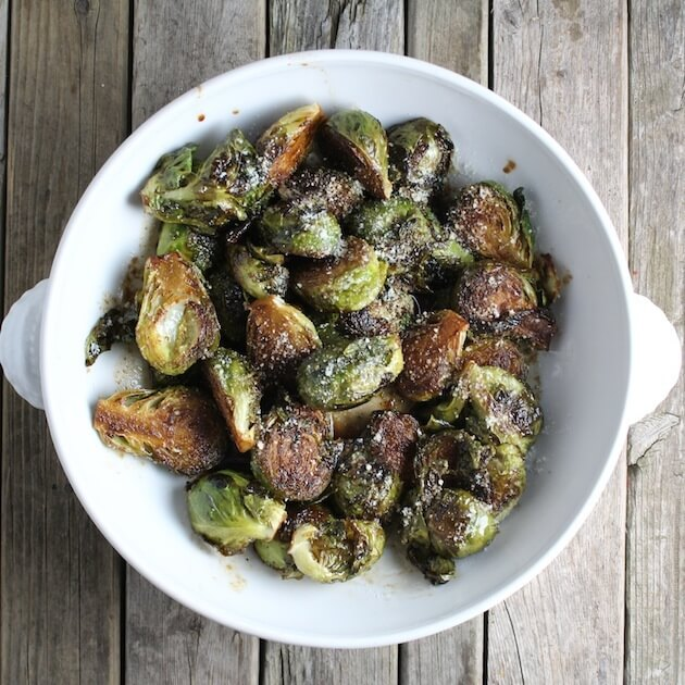 Balsamic Glazed Brussels Sprouts finished over top