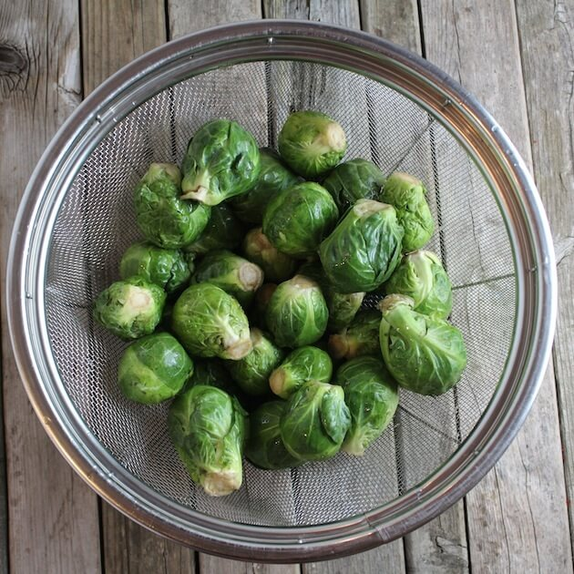 Balsamic Glazed Brussels Sprouts over top