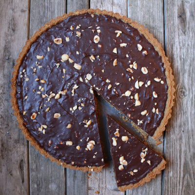 Chocolate Hazelnut Tart #SundaySupper