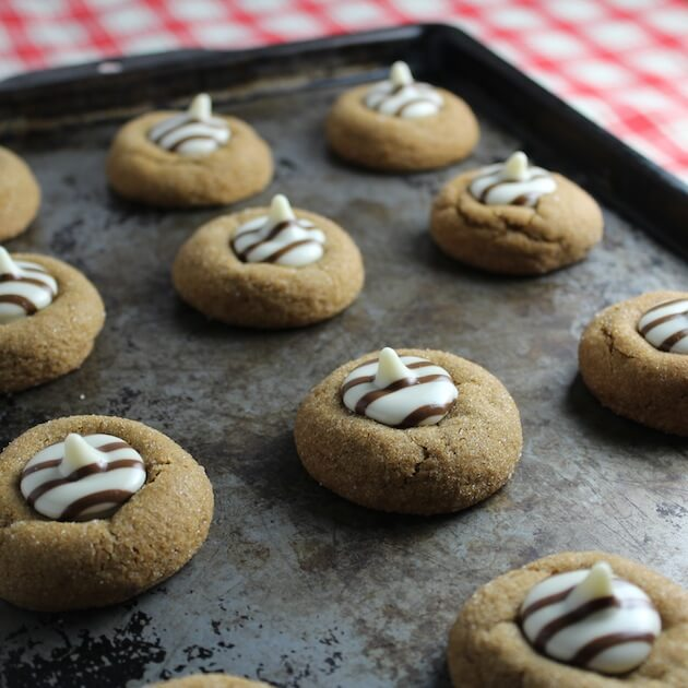 White Chocolate Kissed Gingerbread Thumprint Cookies angle pan 4