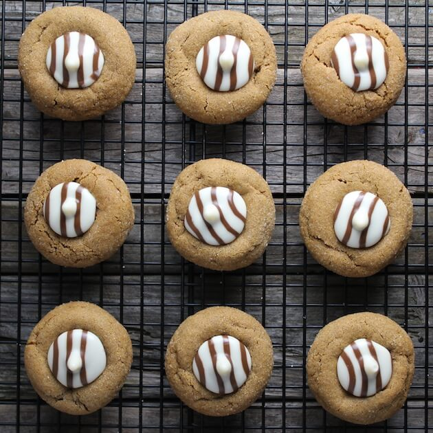 Gingerbread Thumbprint Cookies cooling on wire rack