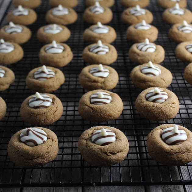 White Chocolate Kissed Gingerbread Thumprint Cookies wide wirerack 4
