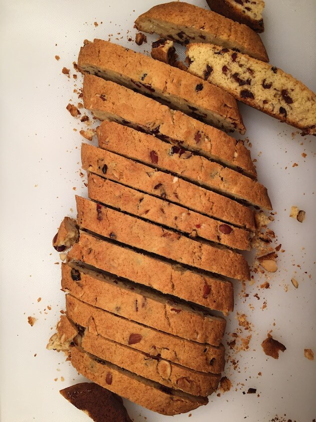 cut up holiday biscotti