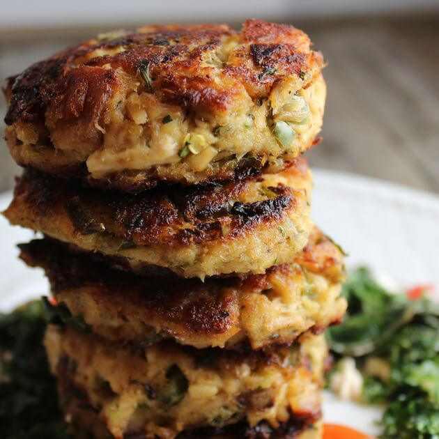 Close up of 5 tuna cakes stacked