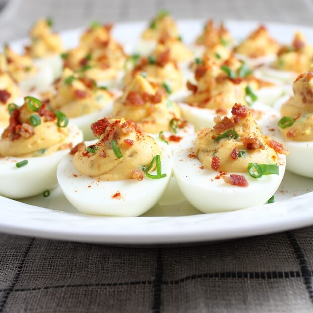 Smoky Deviled Eggs with Bacon on platter