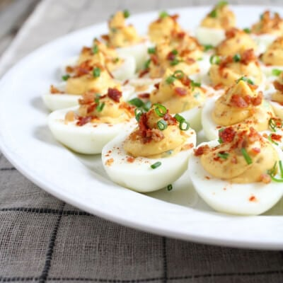 Smoky Deviled Bacon And Eggs #SundaySupper