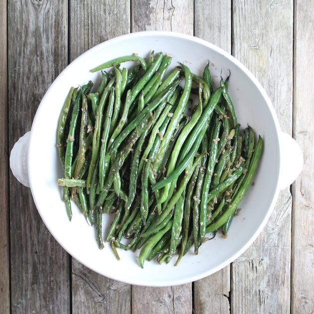 Garlic Green Beans in white serving bowl