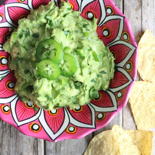 Guacamole in mexican serving bowl