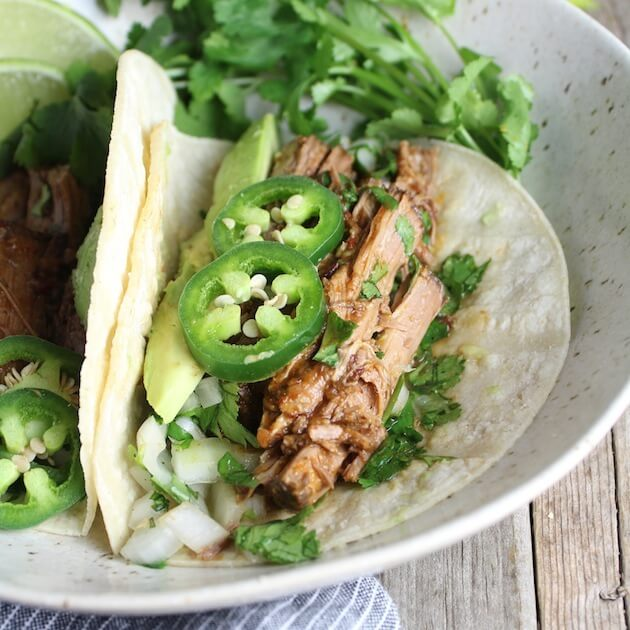 Slow Cooker Beef Barbacoa one taco EL