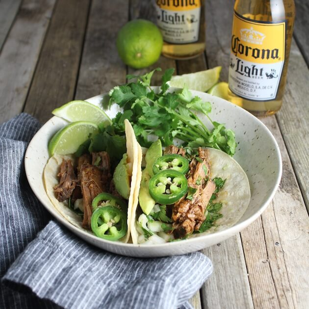 Two tacos with Slow Cooker Beef Barbacoa
