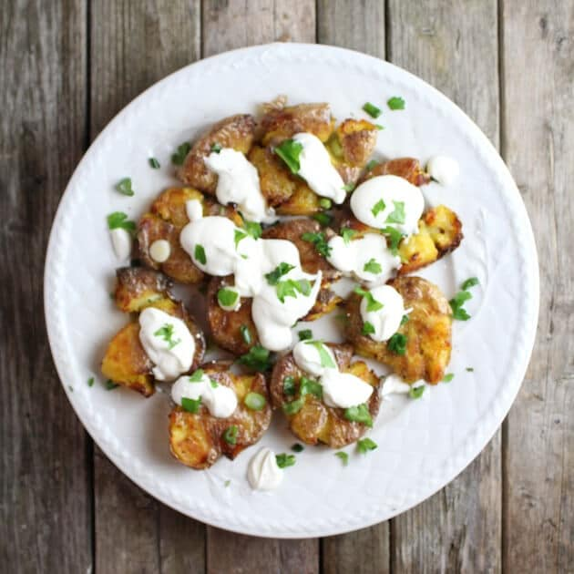 smashed potatoes with sour cream and parsley