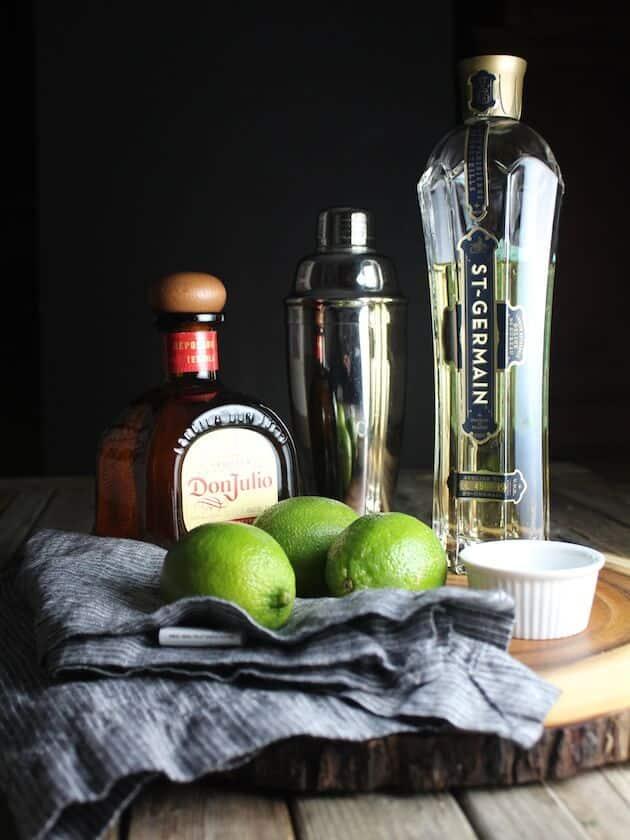 Ingredients for Elderflower Margarita on a table