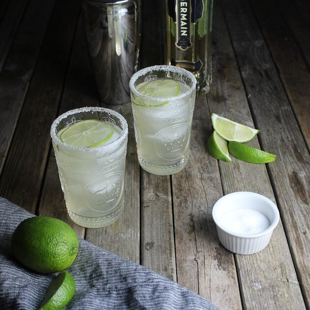 Salted Glasses with Margarita and cocktail shaker