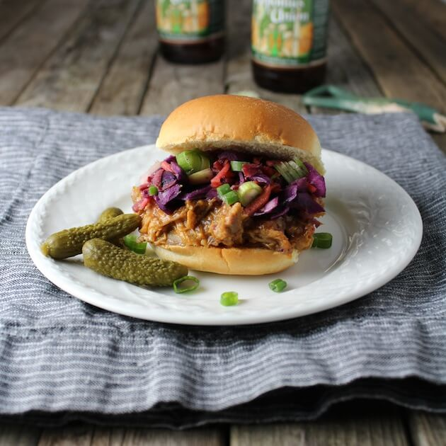 BBQ Pulled Pork Sliders With Tangy Warm Cabbage Slaw #SundaySupper