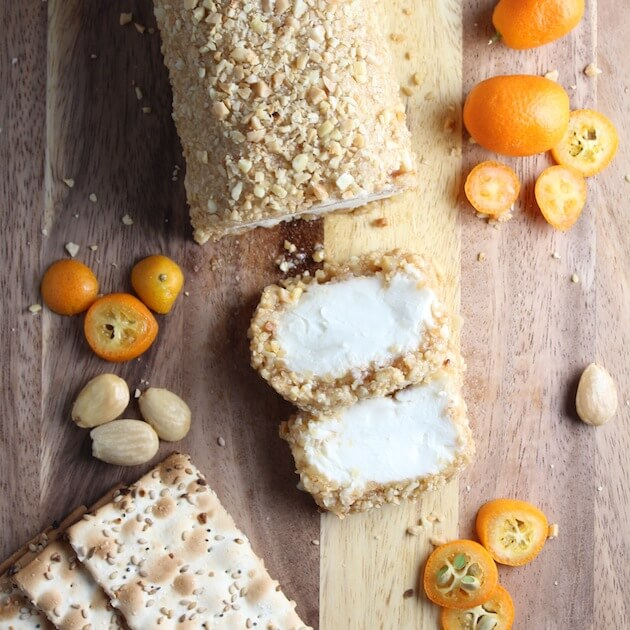 Goat cheese log with almond coating