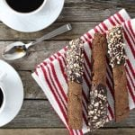 Coffee cups with chocolate biscotti
