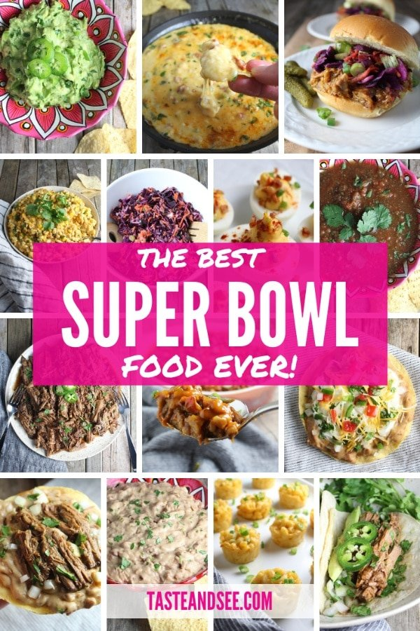 Collage of recipes for super bowl parties