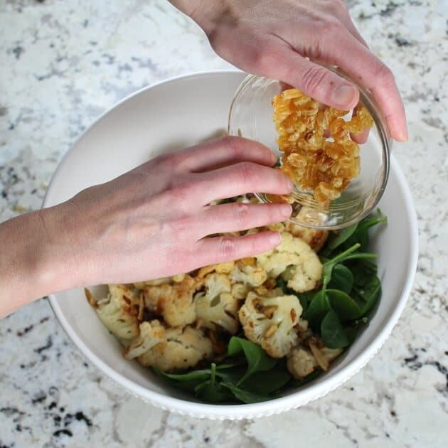 Warm Cauliflower Spinach Salad with Pancetta