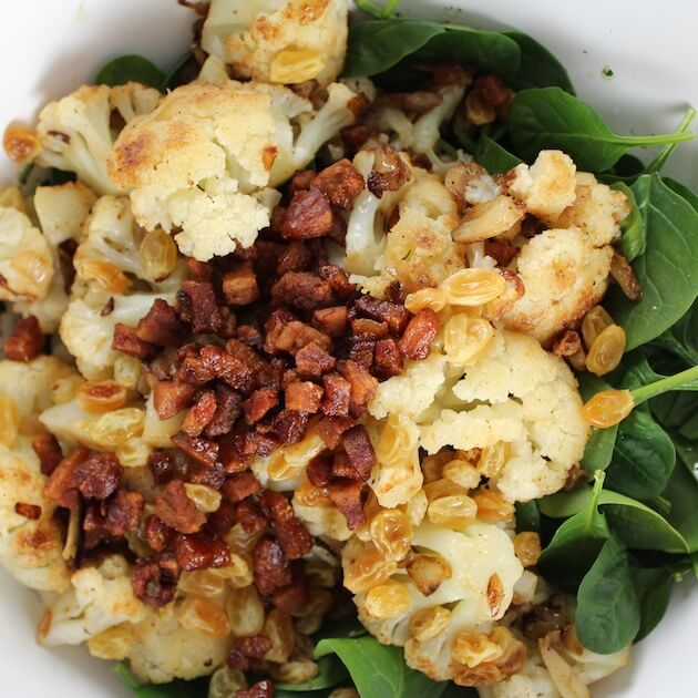 Warm Cauliflower Spinach Salad with Pancetta