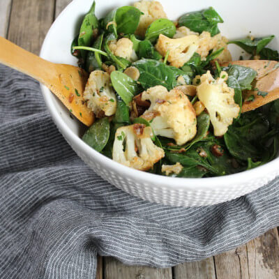 Warm Cauliflower Spinach Salad with Pancetta #SundaySupper