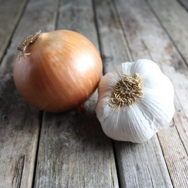 Onion and garlic on farm table