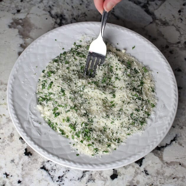Parmesan and parsley on a plate