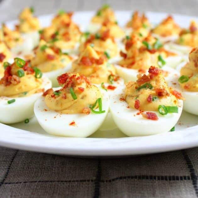 Platter full of deviled eggs