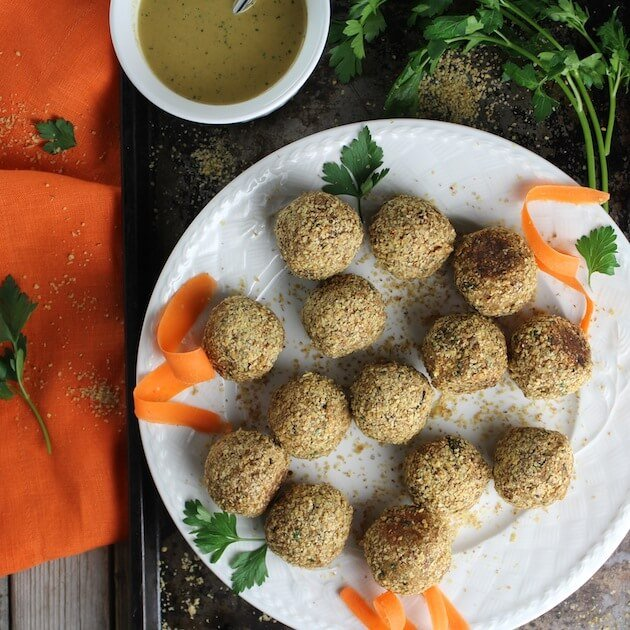 Vegetarian Meatballs With Lemon Tahini Sauce
