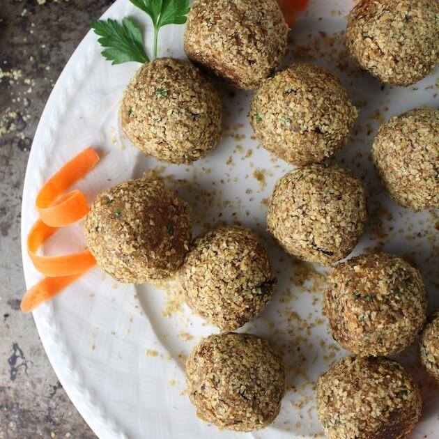 Vegetarian Meatballs With Lemon Tahini Sauce