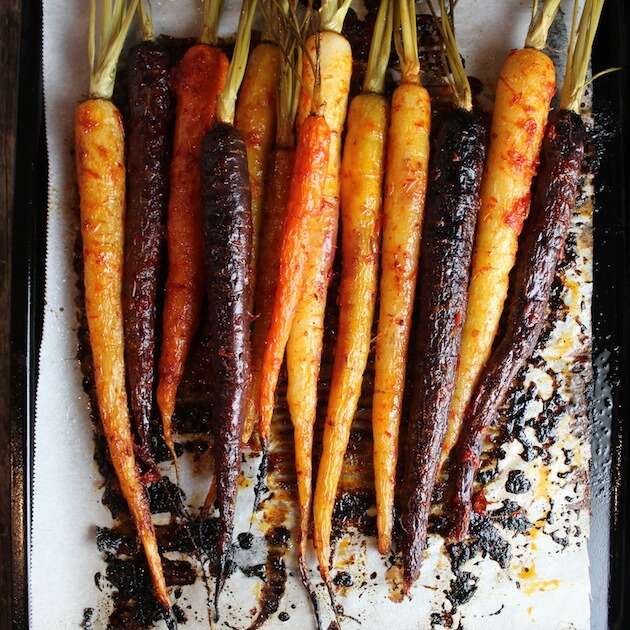 Baked Rainbow Carrots on cookie sheet