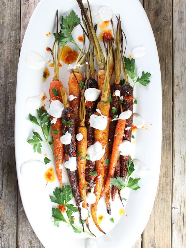 Honey Harissa Carrots on serving platter