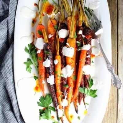 Honey Harissa Rainbow Carrots