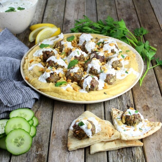 Lamb Meatballs With Fava And Tzatziki
