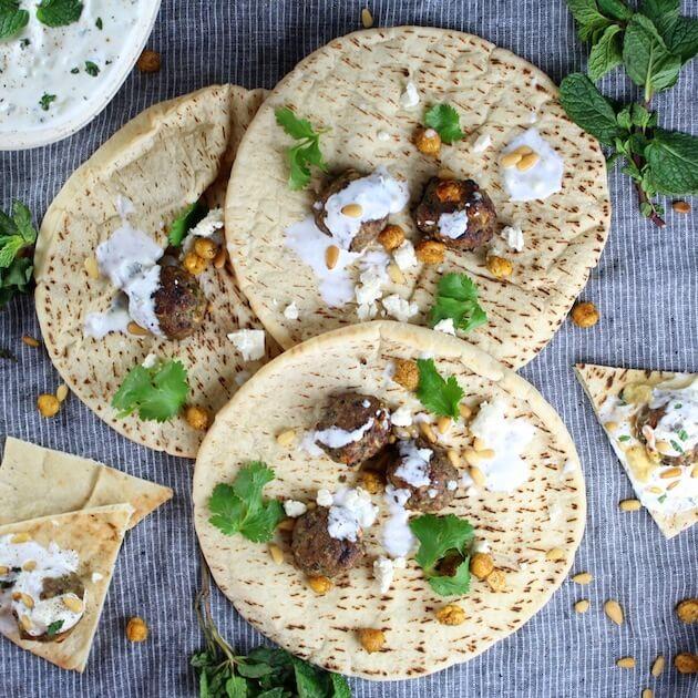 Pita bread with Lamb Meatballs