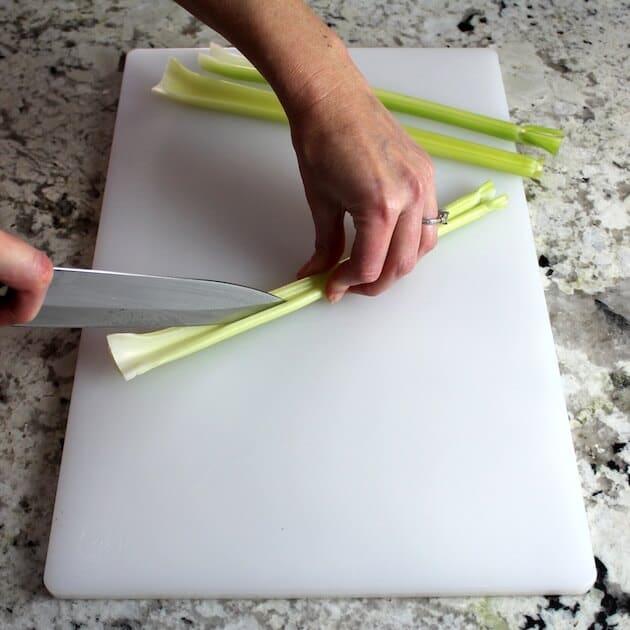 prepping celery